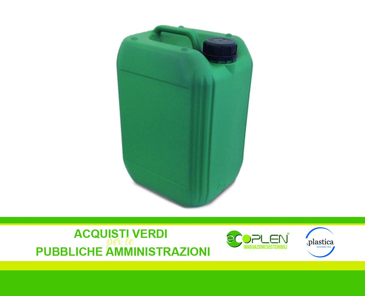 Le taniche Ecoplen in PE rigenerato sono l'imballaggio ideale per tutti i prodotti detergenti che rispettano i Criteri Ambientali Minimi.